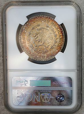 1966 Mexico Peso KM# 459  Silver Coin Prooflike Luster NGC MS64 Toned