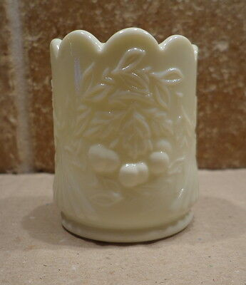 Vintage MILK GLASS Toothpick Holder CHERRIES Cherry L. G. WRIGHT