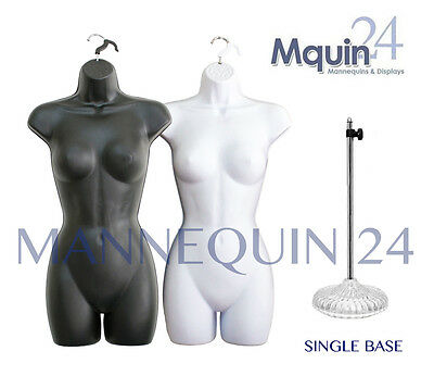 NEW SET of BLACK & WHITE MANNEQUINS(2 PCS) +1 STAND: WOMAN CLOTHING DISPLAY BODY