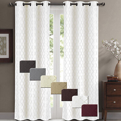 """Willow Jacquard Blackout Thermal Insulated Window Curtain Panels 84 x 84"""" Pair"""