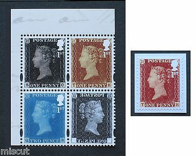 DY16 500 Years of Royal Mail Prestige 1st RED, Black & BLUE + LABEL