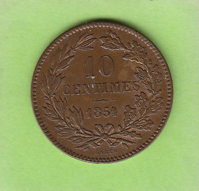 nsw-leipzig Luxemburg 10 Centimes 1854 in vz+, seltener Jahrgang