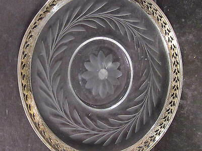 Vintage Webster STERLING & GLASS BOTTLE COASTER  PLATE Etched Glass  5""