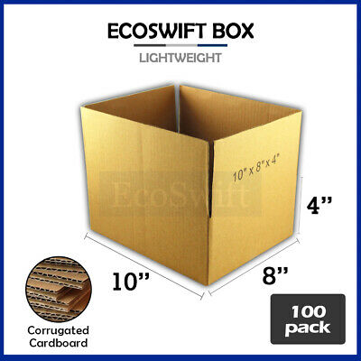 100 10x8x4 Cardboard Packing Mailing Moving Shipping Boxes Corrugated Box Carton