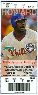 2010 Phillies vs Dodgers Ticket: Roy Oswalt win in his home debut with Phillies