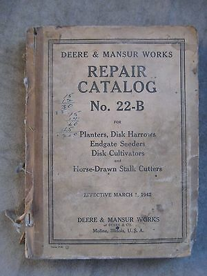 John Deere Mansur Repair Parts catalog 22-B Planters Disk Seeders Cultivators