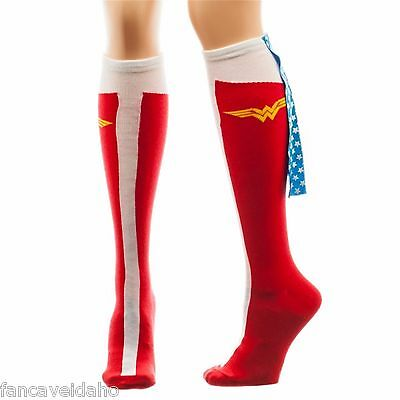 DC Comics Wonder Woman Knee High Red Boot Socks with Glitter Stars Cape
