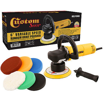 "Custom Shop 6"" Variable Speed Random Orbit Dual-Action Polisher with a 6 Pad Kit"