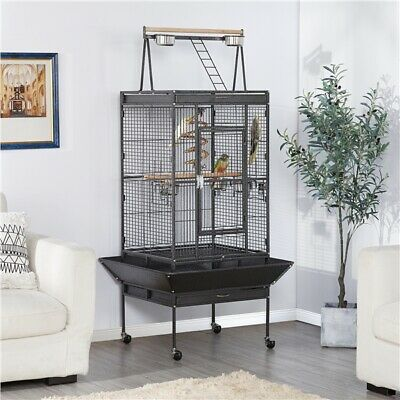 "68"" Large Bird Parrot Cages Cockatoo Play Top Finch Cage Pet Supplies Black New"