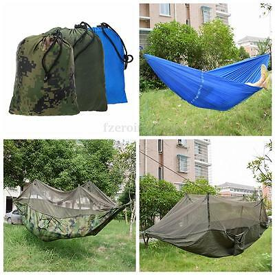 Portable Travel Jungle Camping Outdoor Hammock Hanging Nylon Bed + Mosquito Net