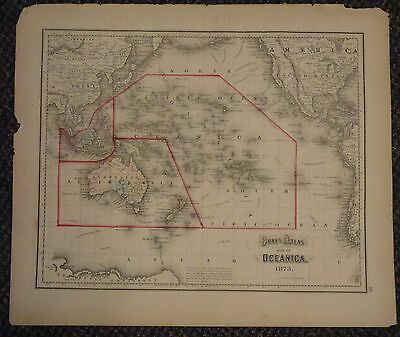 "1873 Gray's Atlas Map of Oceanica - 17"" x 14"" - Sandwich Islands - South America"