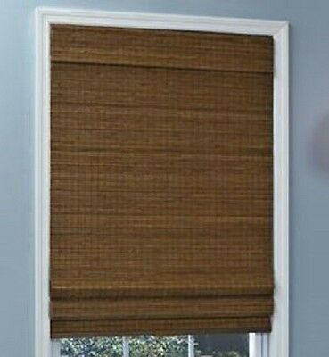 NEW with DEFECTS Natural Woven Bamboo Cordless Roman Shade Blind Privacy