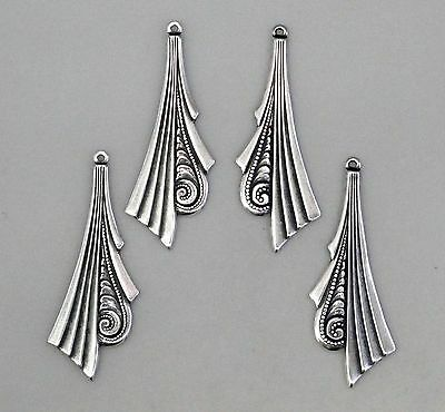 #0120 ANTIQUED SS/P L & R ART DECO DESIGN W/TOP HANG RING - 2 Pr Lot (4 Pcs)