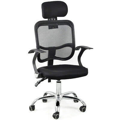 Adjustable Chrome Executive Office Chair Desk Computer Chair Mesh Seat Fabric UK