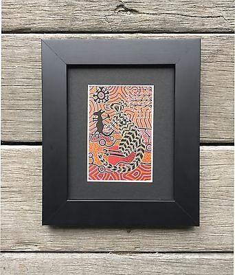 AUSTRALIAN MADE - ABORIGINAL ART  FRAMED PRINT KANGAROO and JOEY