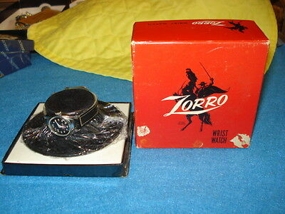 Zorro Wrist Watch With Original Band In Box With Sombrero  Working.