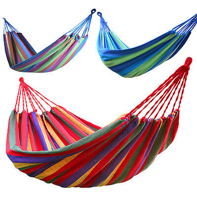 Outdoor Garden Back Yard Travel Camping Colour Stripe Hammock Hang Bed