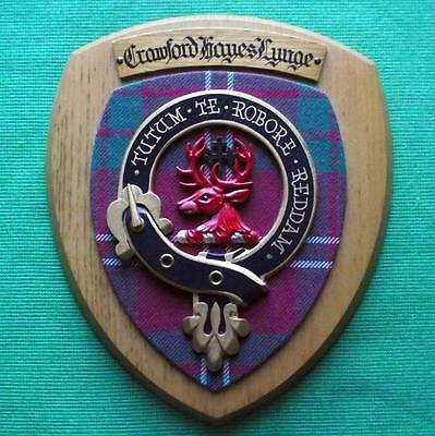 Vintage Scottish Clan Crawford Tartan Heavy Solid Oak Plaque Crest Shield