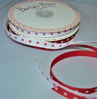 2M Assorted Styles Red & White Ribbon - Spot/Heart/Star - 7 /10Mm #Craft /Cards
