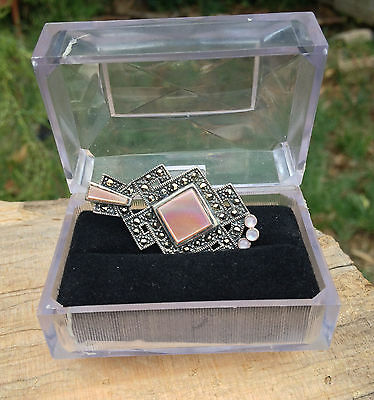 Lady's Sterling Silver Vintage 925 Slider MOP & Marcasite Pendant + Chain