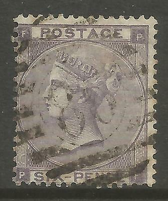 GREAT BRITAIN. 1862. 6d Lilac. Small Letters. No Hair Lines. SG: 84. Fine Used.