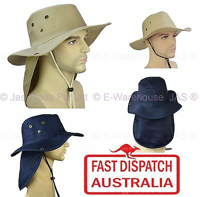Back Neck Ear Flap Cover Cowboy Legion Legionnaire Sun Hat Wide Brim Draw String