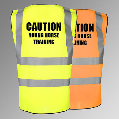 NEW Printed Equestrian Hi Vis Viz Vest Caution Young Horse Training Waistcoat