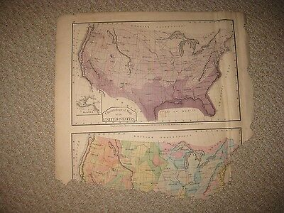 Antique 1876 United States Climate Meteorology Map Texas Territory California Nr