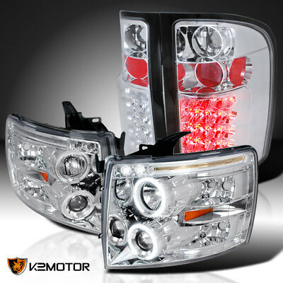 07-14 Chevy Silverado Halo LED Projector Headlights Chrome+Clear LED Tail Lamps