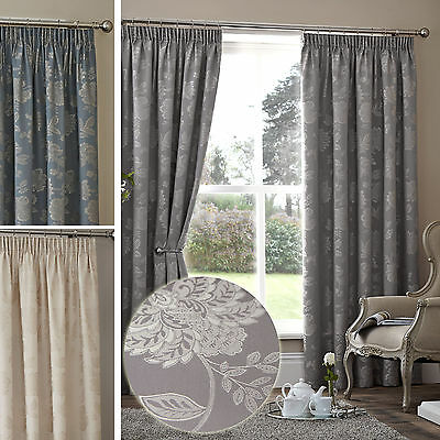 Floral Jacquard Thermal Curtains Pair - Ready Made - Pencil Pleat