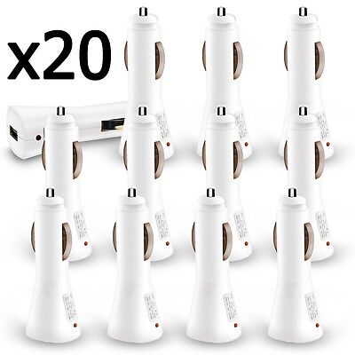 20 x Wholesale Lot White USB Car Charger 1000 mAh for iPhone 6 Galaxy S6 S7
