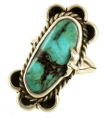 Antique Old Pawn Native American Large Oval Morenci Turquoise Ring Sz 6