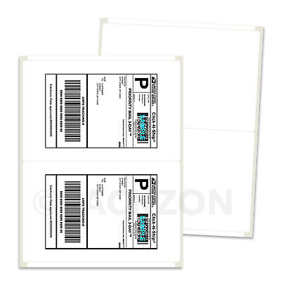 2000 Shipping Labels 8.5x5.5 Rounded Corner Self Adhesive 2 Per Sheet PACKZON®