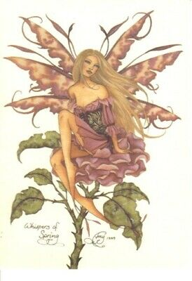 Amy Brown's Whispers of Spring Fairy Art Glossy Postcard 2001 NEW UNUSED