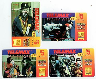 1995 Telemax Multi Language Calling Cards - National Society Of Clowns