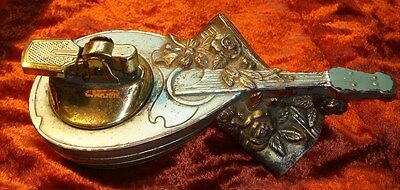 Decorative Italian Vintage Table Lighter - Style of Mandolin, Music & Flowers