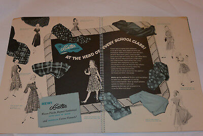 Vintage 1948 Bates Fabric Dealer Advertising Book! Sew School Clothing! Posters!