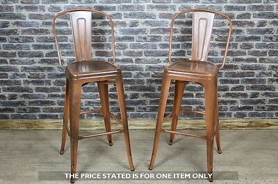 Tolix Style Tall Stool With Back In A Vintage Copper Finish Metal Bar Stool