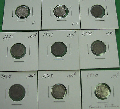Canada 1888 1891 1893 1899 1904 1910 1913 1914 5 cents very nice coins lot