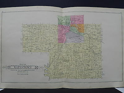 WISCONSIN JEFFERSON COUNTY PLAT MAP 1899 Watertown Township Double Page K19#10