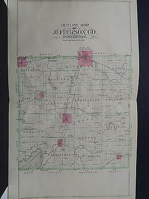 WISCONSIN JEFFERSON COUNTY MAP 1899 Double Page K19#07