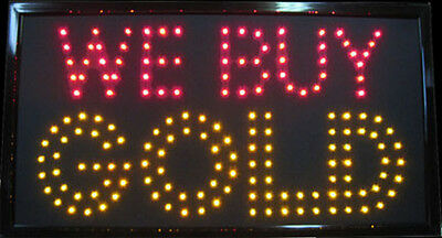 ULTRA BRIGHT Jumbo Size We buy Gold Neon Window LED light Store Sign Display