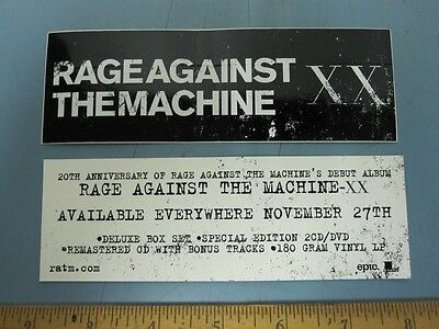 RAGE AGAINST THE MACHINE 2012 XX promotional sticker ~MINT~NEW old stock!!