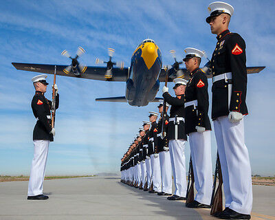 U.S. Marines Demonstration Squadron Drill C130 Hercules Aircraft Photo Picture