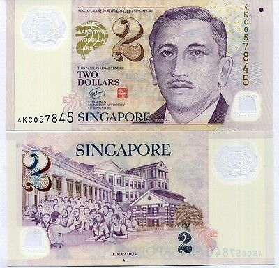 Singapore 2 Dollars Polymer 1 Triangle Unc