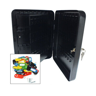 Wall Mountable 96 Hook Lockable Steel Cabinet Case Security Box + Key Tags Fobs