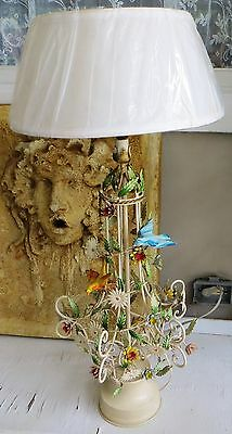 Vintage Metal Tole Table Lamp, Leaves, Flowers, Birds, ITALY Shabby Cottage Chic