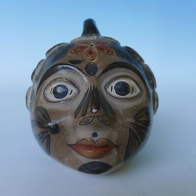 "Vintage Mexican Tonala head bank by SIMEON GALVAN 5 1/4"" x 5 1/4"""