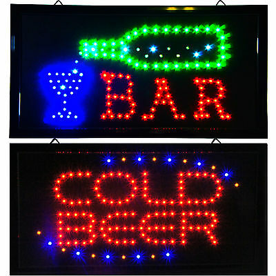 Bright Cold Beer & BAR Pub Tavern Saloon Casino Open LED Sign animated neon Brew