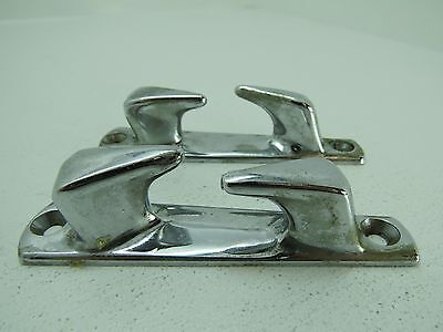 Pair 4+1/16 Inch Chrome Chocks Ship Boat Dock Cleats Decor (#1521)